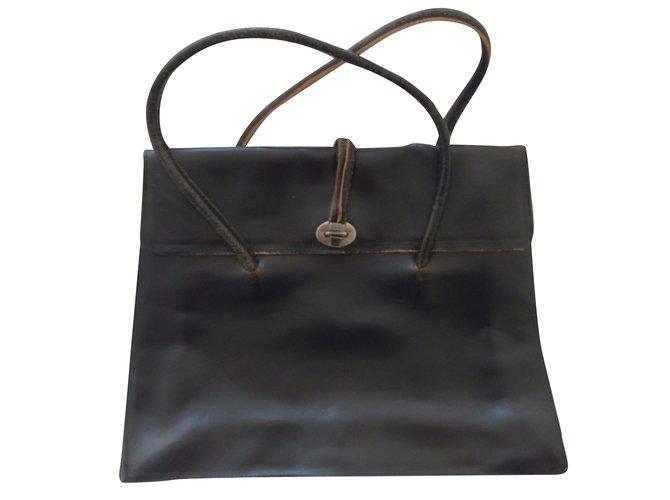 Miu Miu MIU MIU Vintage Bag Handbags Leather Brown ref.31519 - Joli ... e92949208