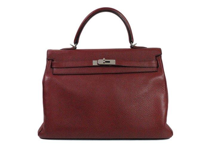 Sacs à main Hermès Kelly 35 Cuir Bordeaux ref.31559