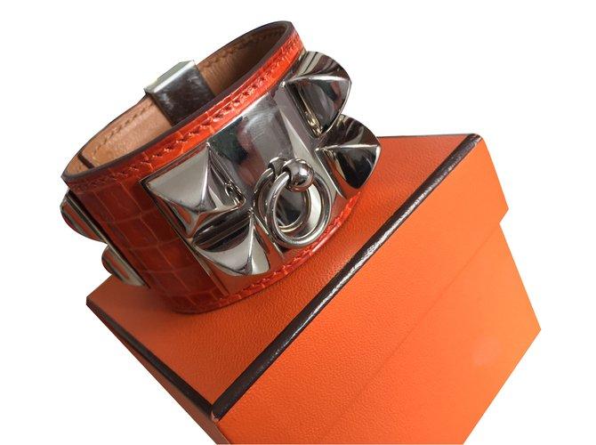Bracelets Hermès Bracelet Cuirs exotiques Orange ref.31603