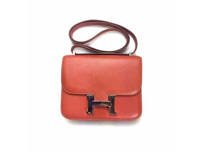 Sacs à main Hermès Constance 18 Swift Brique Cuir Rouge,Orange ref.31612