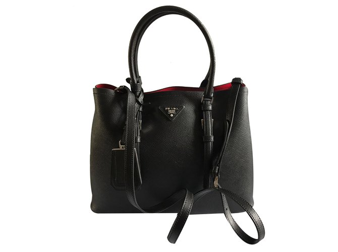 70c34cd89db7 Prada Double bag Handbags Leather Black ref.31620 - Joli Closet
