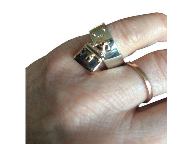 Bagues Hermès Bague kelly en or jaune et argent Or jaune Argenté ref.31990 84d77f0d1db