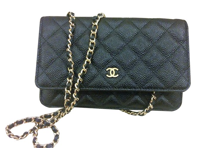 3e500e15301 Chanel Small Clutch with classic chain Clutch bags Leather Black ref.32224
