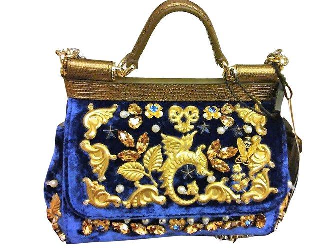 5218bbf25549 Dolce   Gabbana Miss Sicily Handbags Velvet Blue ref.32410 - Joli Closet