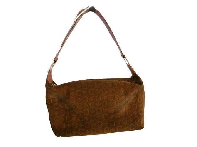 92fab7f287 Céline Leather Suede Monogram Logo Shoulder Bag Handbags Suede Brown ref .32691