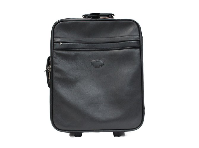 Longchamp Suitcase Cabin Trolley Bags Briefcases Leather Black,Dark Grey  Ref.33095