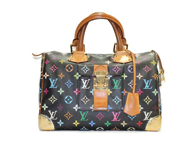 3d344b992922 Cabas Louis Vuitton Sac louis vuitton speedy monogramme lv multicolore  Cuir,Métal Noir,Multicolore
