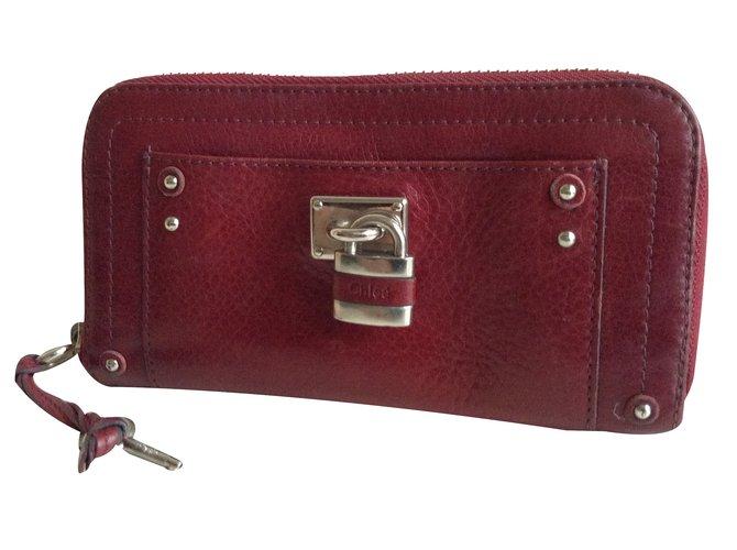 Chloé Paddington Purses, wallets, cases Leather Dark red ref.33131