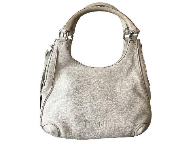 Chanel Handbag Handbags Leather White ref.33205