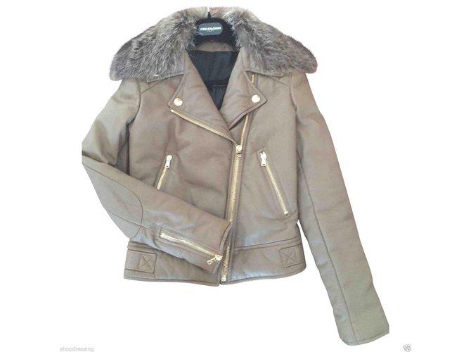 Yves Salomon Biker jacket Biker jackets Leather Taupe ref.33245