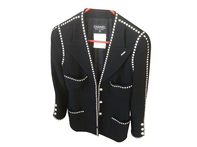 Chanel Jacket Jackets Wool Black Ref.33863