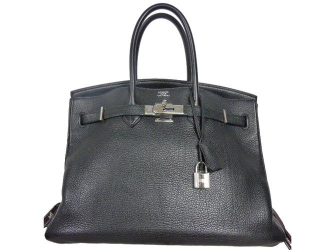 Sacs à main Hermès Sac à main Hermès Birkin 35 en cuir Togo noir en excellent état! Cuir Noir ref.33970