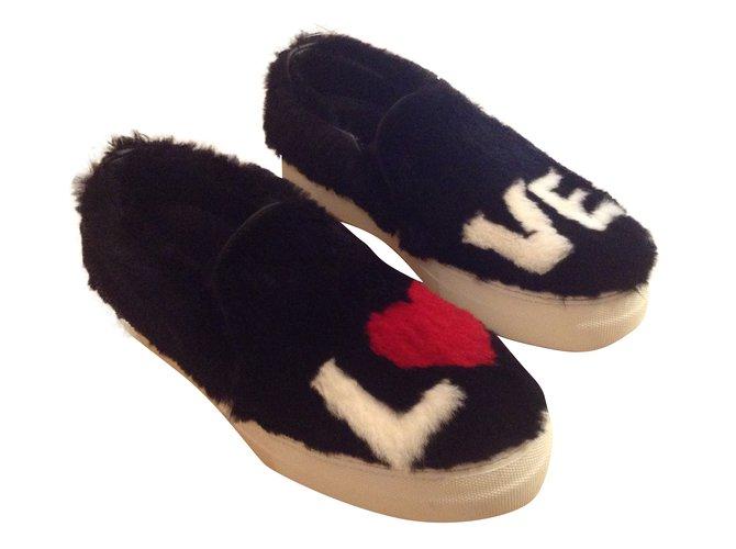 Joshua Sanders Slip on Flats Fur Black