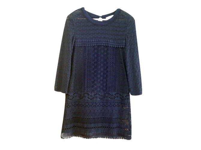 Robes Vanessa Bruno Athe Robe Guipure Coton Bleu Ref 34122 Joli Closet