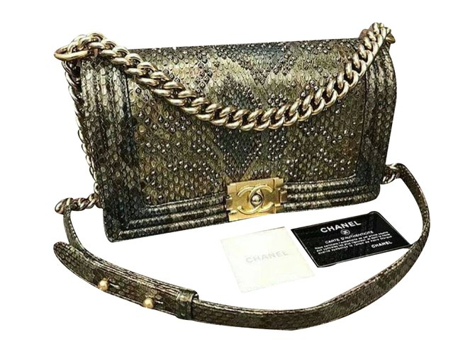 ec08238d9aa8 Chanel Medium Versailles Python Boy Bag Handbags Exotic leather Golden  ref.34190