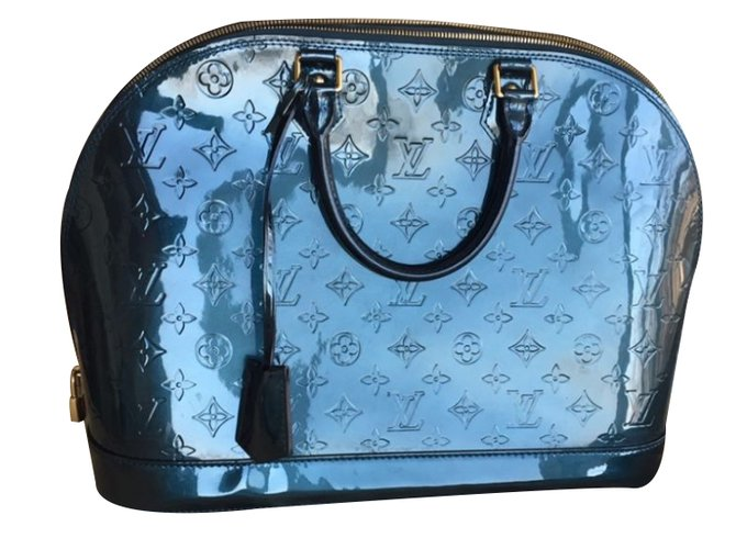 cd948f237b1 Louis Vuitton Bleu Nuit Monogram Vernis Alma GM Handbags Patent leather Blue  ref.34358