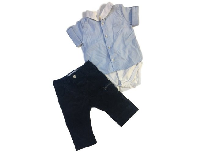Burberry Set : Burberry pants in navy blue cotton velvet + Hugo Boss sleepsuit style shirt in blue and white cotton Outfits Cotton White,Blue ref.34441