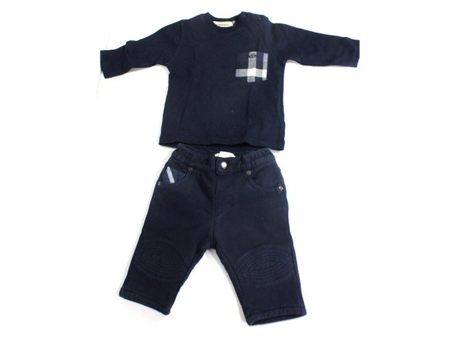 Burberry Set : tee shirt and trousers Outfits Cotton Blue ref.34442