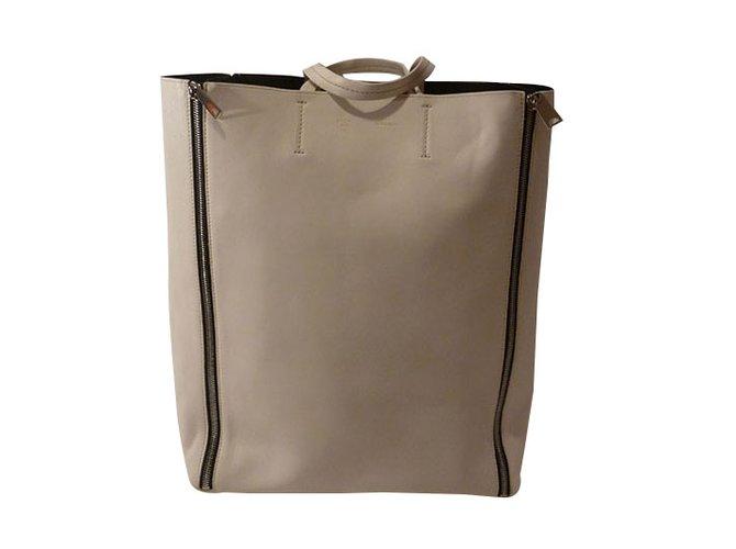 a79b7933dd Céline Celine Cabas Vertical Zip Medium Tote Bag Totes Leather Cream  ref.34496
