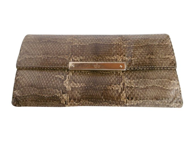d5d5a52d1e0f Gucci Gucci Snakeskin Leather Long Wallet Wallets Exotic leather Brown,Beige  ref.34601