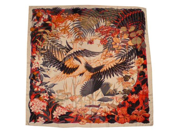 Hermès FLAMINGO PARTY Silk scarves Cashmere Multiple colors ref.135794