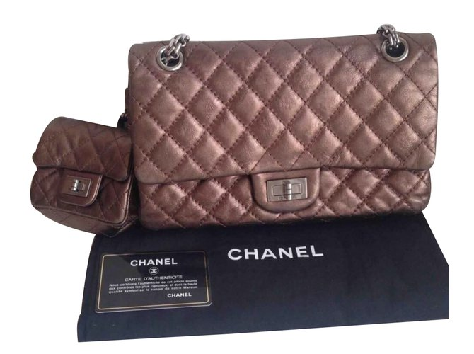 f93c60526019 Chanel Reissue 2.55 Quilted Classic Calfskin double flap Handbags Leather  Bronze ref.34740