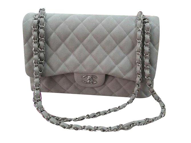50d4102c757f Chanel Classic double flap Caviar Handbags Leather Grey ref.34760 ...