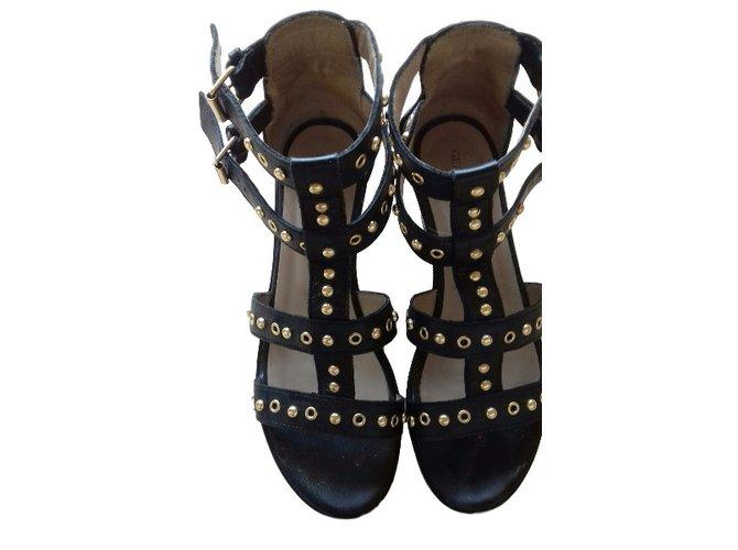 Sandales Compensées Noir Sandale Ref Gerard Cloutées Darel Cuir 80ONknPXw