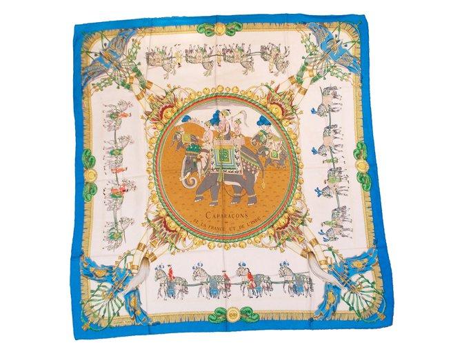 Hermès Carapaçons de la France et de l Inde Silk scarves Silk Blue ref. 460691d5aa7