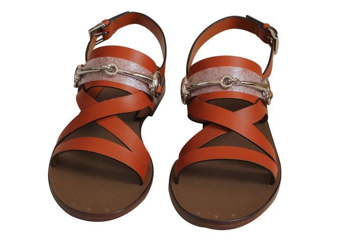 fb8f232ace0e Gucci Sandals Sandals Leather Orange ref.34866 - Joli Closet