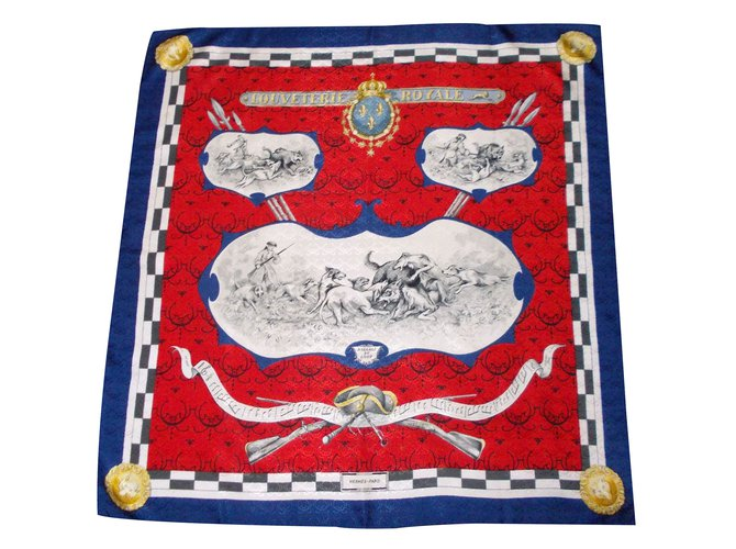Hermès Louveterie Royale Silk scarves Silk White,Red,Blue ref.34836