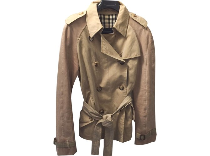 Burberry Trench coats Trench coats Leather,Cotton Beige ref.35079