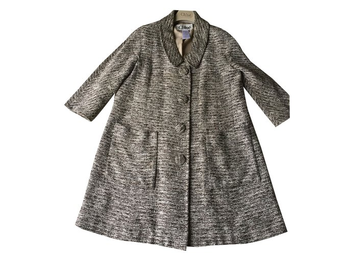 Chloé brown and ecru mix loose fitting coat Coats, Outerwear Other Brown ref.35089