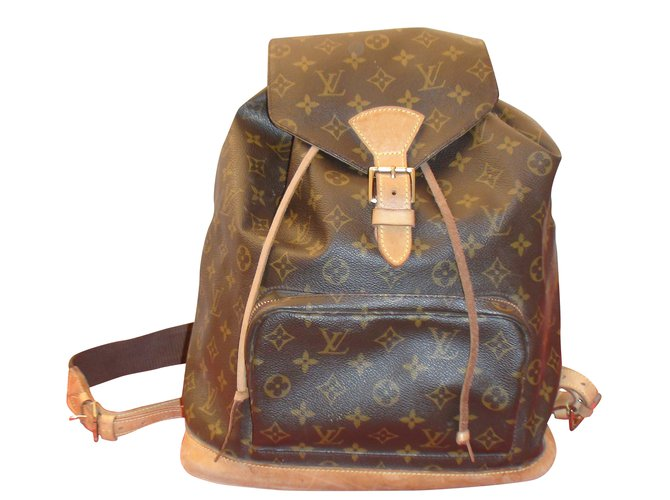 2c6fe02363b6 Sacs à dos Louis Vuitton Montsouris GM Cuir Marron ref.35213 - Joli ...