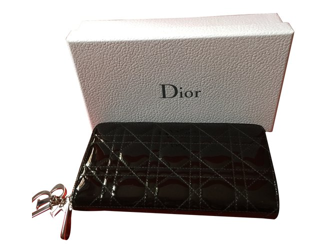 7fe8c84c2633 Petite maroquinerie Dior Portefeuille dior Cuir vernis Noir ref.35291