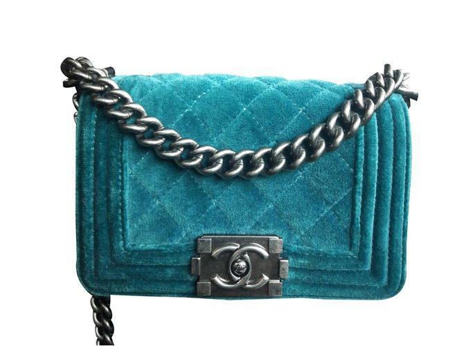 4119501d557b Chanel Velvet boy mini Handbags Velvet Green ref.35308 - Joli Closet