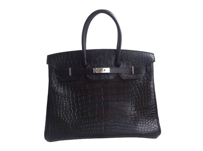Sacs à main Hermès Birkin 35 alligator mat Cuirs exotiques Noir ref.35314