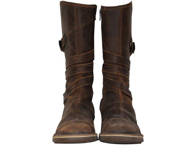 bottes autre marque bottes femme kickers cuir marron ref. Black Bedroom Furniture Sets. Home Design Ideas