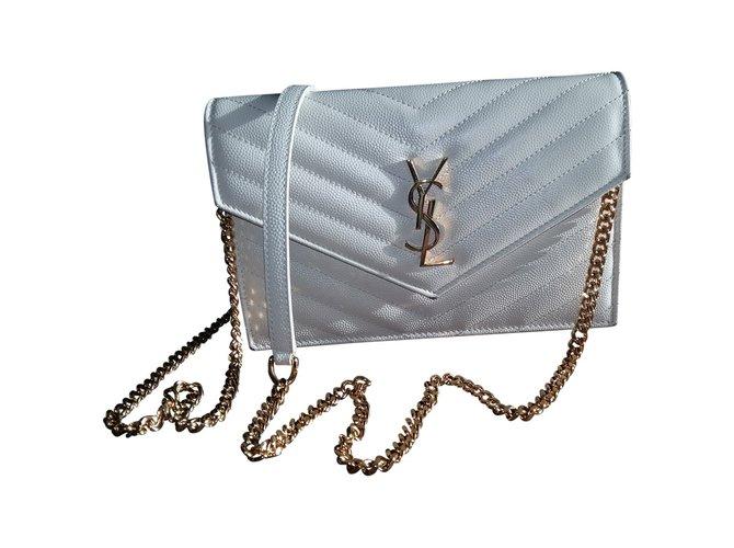 8b90c0a5454 Yves Saint Laurent Saint Laurent Classic Monogram Chain Wallet Ba Handbags  Leather White ref.35427