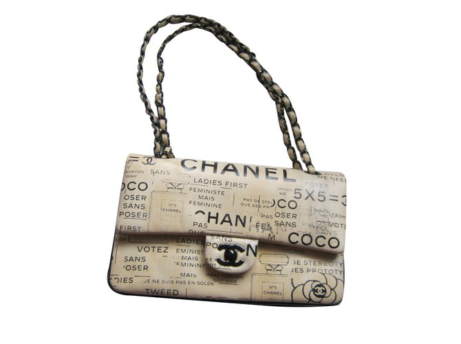 Sacs à main Chanel Timeless Medium Newspaper Cuir Beige ref.35430