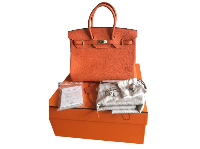 Sacs à main Hermès Hermès Birkin 35 Togo Orange état neuf full set ! Cuir  Orange 6b6bae04c91