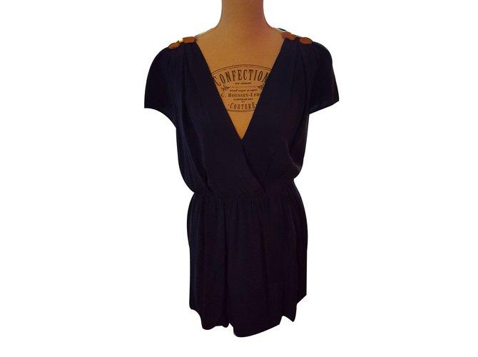 maje robe soie noeuds cuir