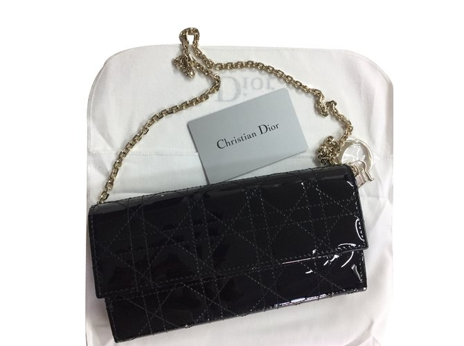 Christian Dior Lady Dior rendez-vous wallet Clutch bags Patent leather  Black ref.35789 dce2b1563f504