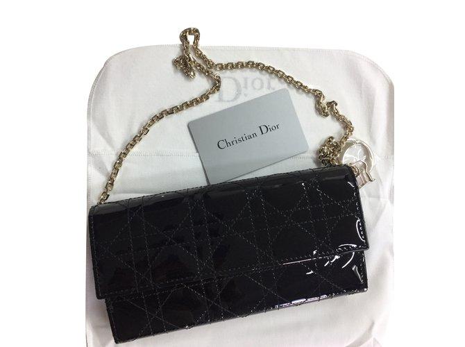 Christian Dior Lady Dior rendez-vous wallet Clutch bags Patent leather  Black ref.35789