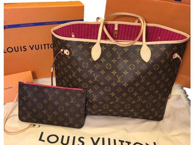 Sacs à main Louis Vuitton Neverfull Monogram GM + Pochette Intérieur  Pivoine Neuf Facture Toile Marron a134477255b