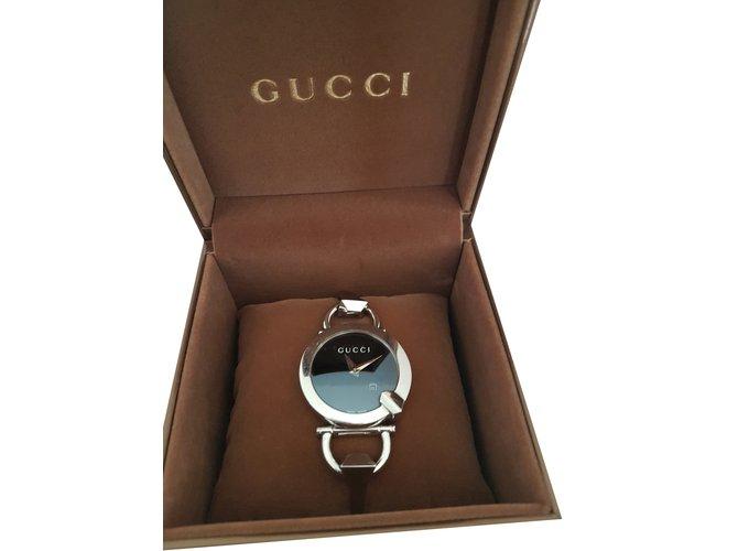 Montres Gucci Montre Gucci chiado Acier Noir ref.35836