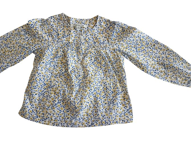 Tops fille Massimo Dutti Top fille Coton Blanc,Bleu,Jaune ref.35980