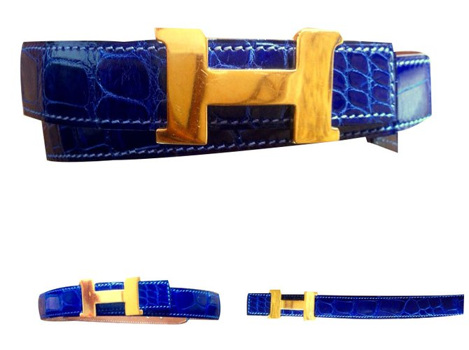 Ceintures Hermès Ceinture mini constance en crocodile Cuirs exotiques Bleu  ref.35982 afdb45503da