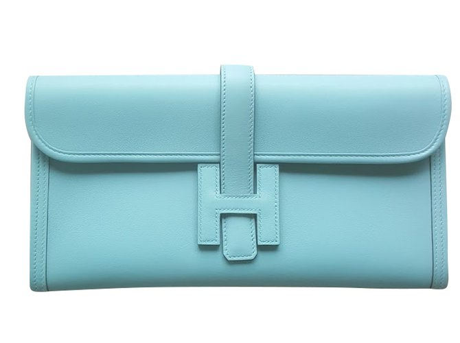 Sacs à main Hermès POCHETTE HERMES JIGE Cuir Bleu ref.36104