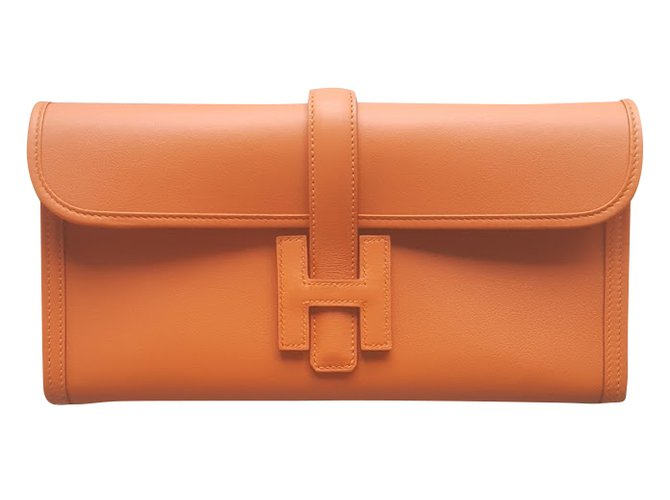 Hermès Handbag Handbags Leather Orange ref.36108